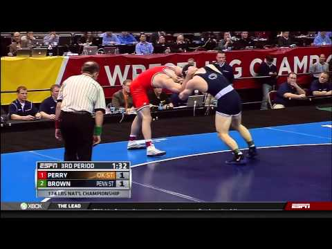 2013 NCAA Wrestling National Championships D1 Chris Perry (OSU) vs Matt Brown (PSU)