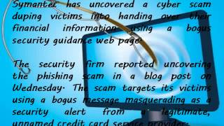 Internet Warning Abney and Associates Article - Symantec warns on credit card security phishing scam