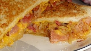 Onion and Bacon Grilled Cheese Sandwich (for National Grilled Cheese Month)