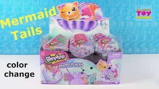 Shopkins Happy Places Mermaid Tails Color Change Blind Bag Figures Toy Review | PSToyReviews