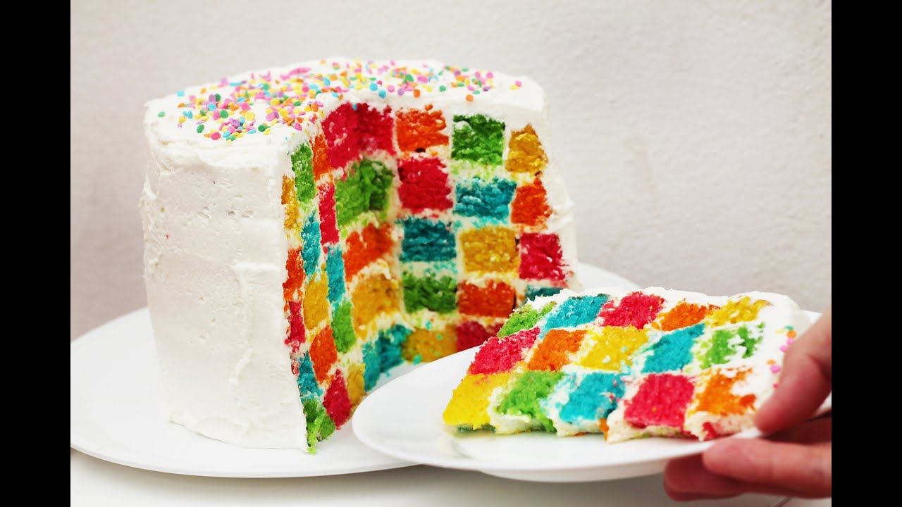 Rainbow Checkerboard Cake Images