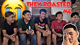 I let my little brother and his friends roast me! 😪 *they went in on me*