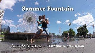 Kizomba Dance Improvisation - Summer Fountain - Alex & Alyona