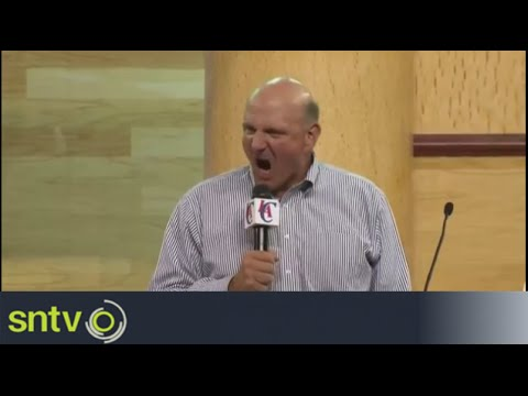 Steve Ballmer new LA Clippers owner makes passionate entrance