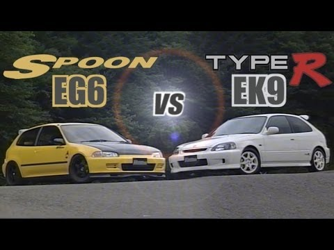 [ENG CC] Spoon Civic EG6 B18C vs. Civic Type R EK9 B16B at Ebisu 1998 - YouTube