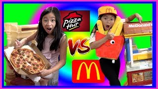 Pretend Play McDonalds vs Pizza Hut CHALLENGE with Ryan's Toy Review inspired