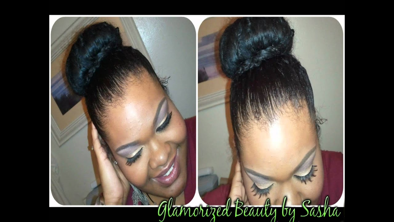 Natural Hair Sock Bun Tutorial Youtube