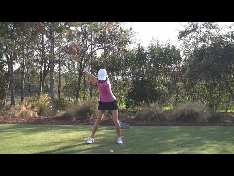 MICHELLE WIE - PERFECT FACE ON FAIRWAY WOOD GOLF SWING LATE 2013 - REG & SLOW MOTION - 1080p