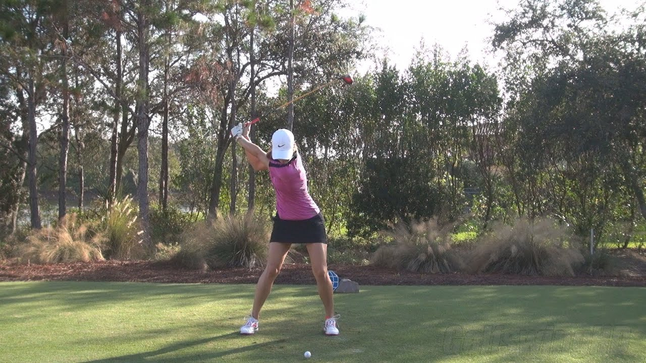 Michelle Wie Perfect Face On Fairway Wood Golf Swing
