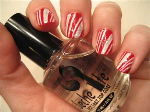 Glitter Candy Cane Nail Tutorial Video