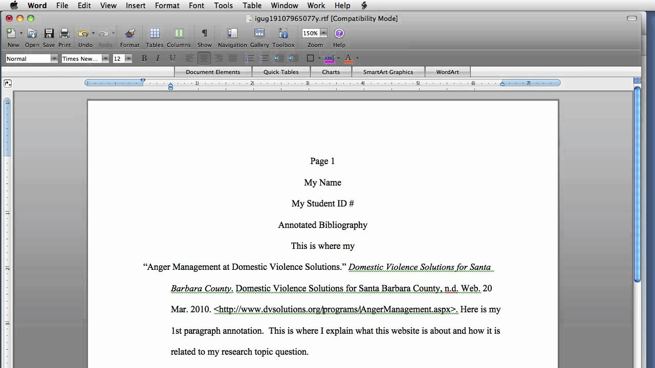 Title of work in essay citation