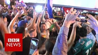 Little Havana celebrates Fidel's death - BBC News