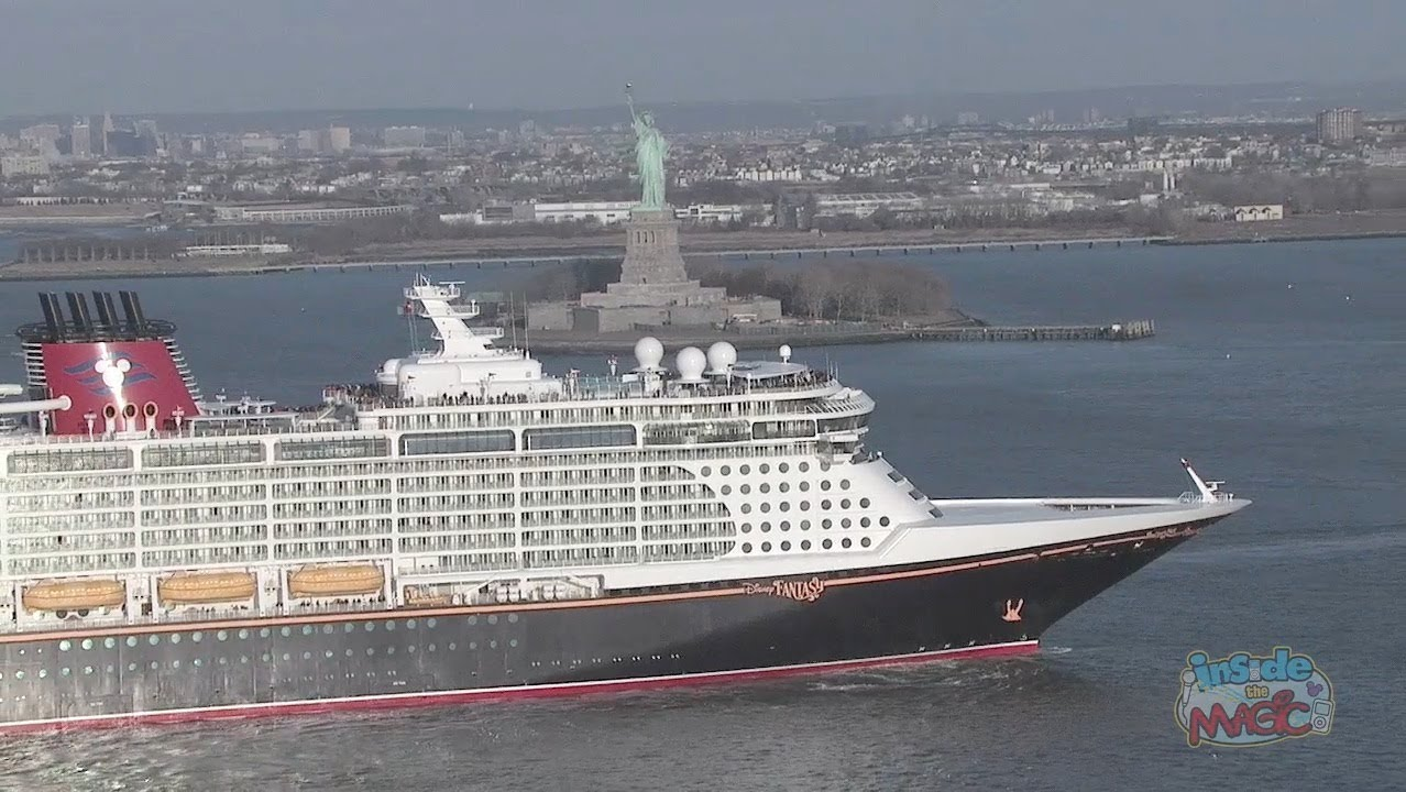 Disney Fantasy Cruise Ship Horn Sounds Upon Arrival In New York Harbor - YouTube