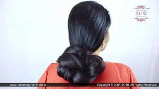 Sunila's Diwali Special Elegant Loose Bun Making Over Her Neck With Her Knee Length Hair