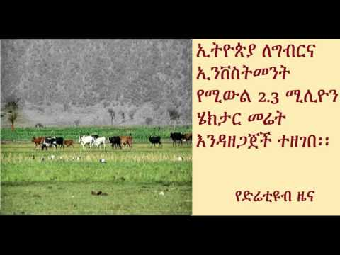 DireTube News - Ethiopia To Make Available 2.3 Million Hectares of Land For Investors