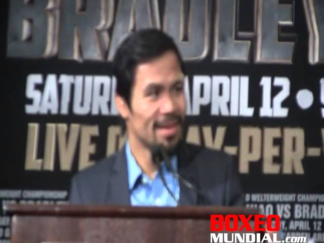 Manny Pacquiao at post fight presser for Pacquiao-Bradley2