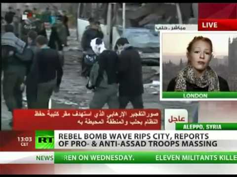 Lizzie Phelan: 'Massive bombing in Aleppo kills , Israeli weapons found in Homs' [10-Feb-12 © RT]