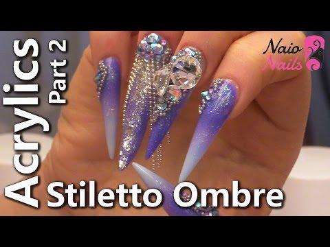 Acrylic Stiletto Ombre -  Part 2 - Filing Technique