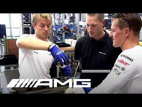 Schumacher and Rosberg Build an AMG Engine