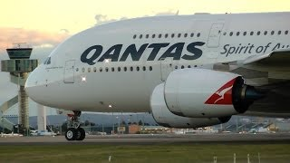 Qantas A380 Taking off Runway 25 Sydney airport - Sunday