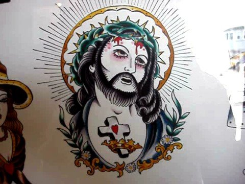 Jesus Christ tattoo flash inspired by 17th century painting by Guido Reni.