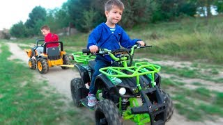 Kids Ride on Power Wheels with Quad Bike and towing 12V Bulldozer - Video for Children