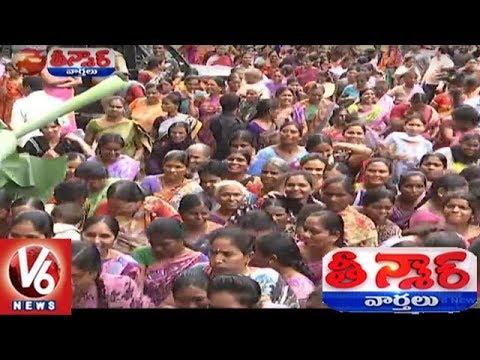 Warangal Shopping Mall Ashadam Offer Rs.9 Per Saree   Teenmaar News   V6 News