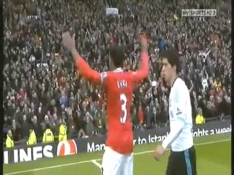 Patrice Evra celebrates in front of Luis Suarez - Manchester United V Liverpool FC