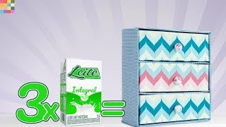 DIY - Caixa Organizadora 15 com Caixa de Leite   Gaveteiro Fácil