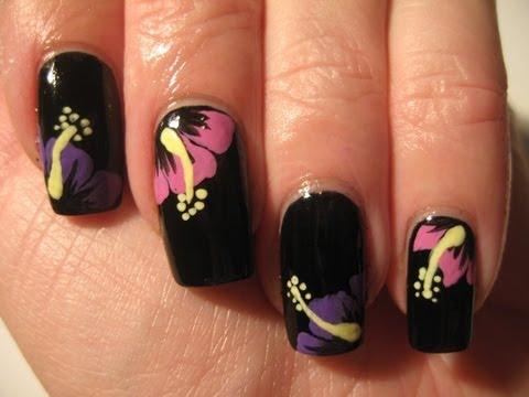Nail art: Tropical winter flowers