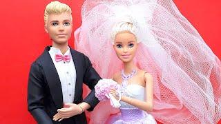 Barbie Doll & Ken Wedding day!  Play-doh Wedding cake toy para Barbie Brinquedos