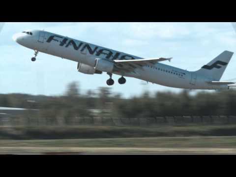 Finnair planes arriving and departing Helsinki-Vantaa airport