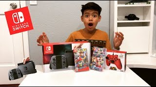 NINTENDO SWITCH UNBOXING!!! ( PRO CONTROL+ GAMES )