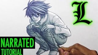 """How to Draw L from """"Death Note"""" [Narrated, Step by Step]"""