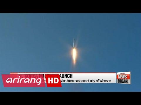 ARIRANG NEWS BREAK 10:00 N. Korea test-fires two missiles from east coast city of Wonsan