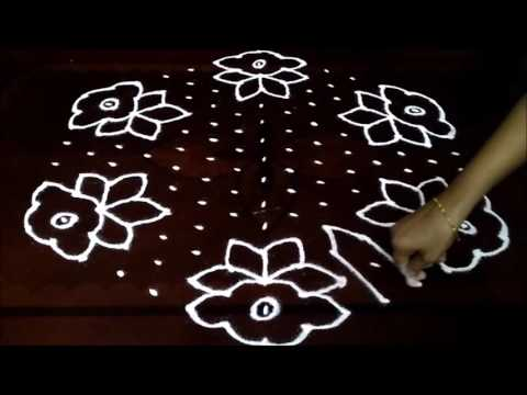 Simple flowers  kolam with 15 - 8 middle | chukkala muggulu with dots| rangoli design