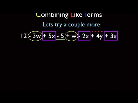 Algebra -  Distributive Property and Combining Like Terms Part 1