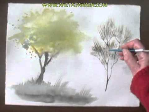 Watercolor demo - aquarelle how to paint trees part III