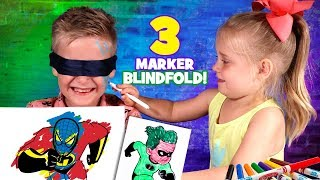 Blindfolded 3 Marker Challenge!!! Incredibles 2, Spider-Man & Ben 10 Edition!