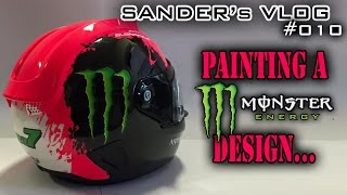Painting a Monster Energy design on a helmet - Sander's vlog 010