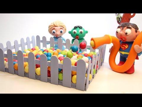 Elsa & Hulk Ball Playground  💕 Stop motion cartoons for kids