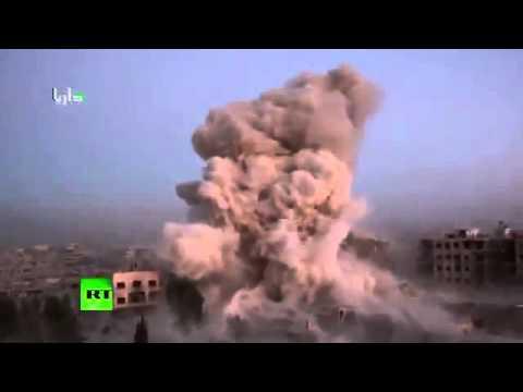 Huge Syrian Airstrike Bombs rain down on supposed jihadist hideout - Darayya Syria