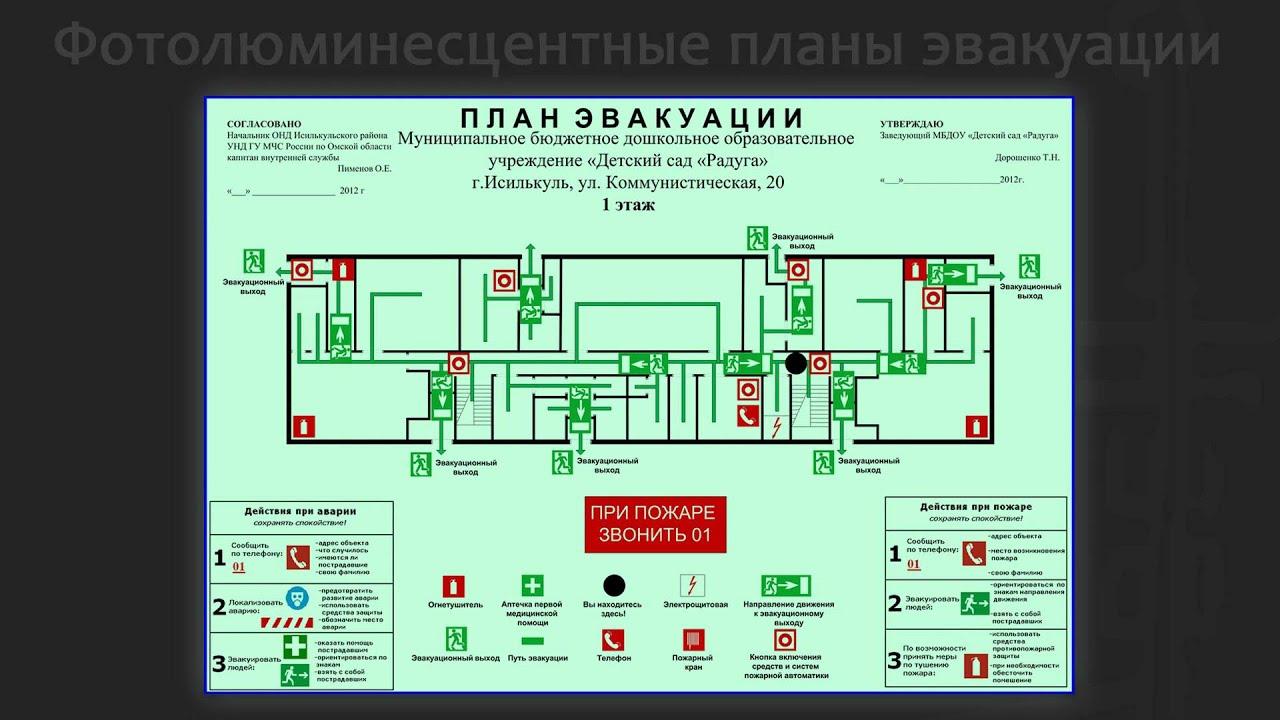 Схемы эвакуации фотолюминесцентные