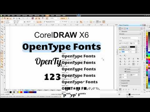 Corel DRAW X6 OpenType font support and new character text feaures