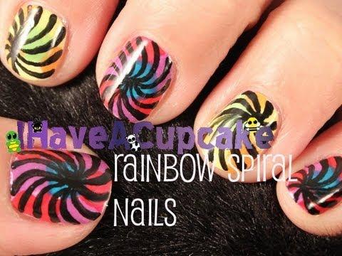 Rainbow Spiral Nail Art