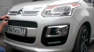 Видео: Установка защиты радиатора Citroen C3 Picasso 2013 черная