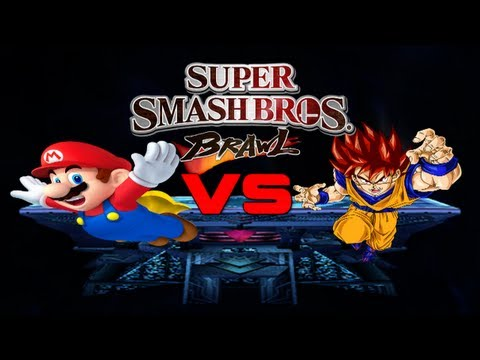 Super Smash Bros. Brawl Goku (ssj God Hair) Vs Mario (smbz Moveset) video