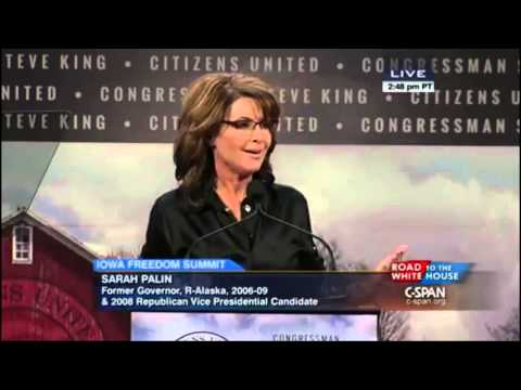 "Sarah Palin in Iowa: ""The man"" (?) is doing some dirty things to...the middle class? The GOP?"