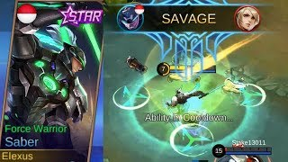 New Saber Starlight Skin FORCE WARRIOR Gameplay (Best Rework Ever) - Mobile Legends
