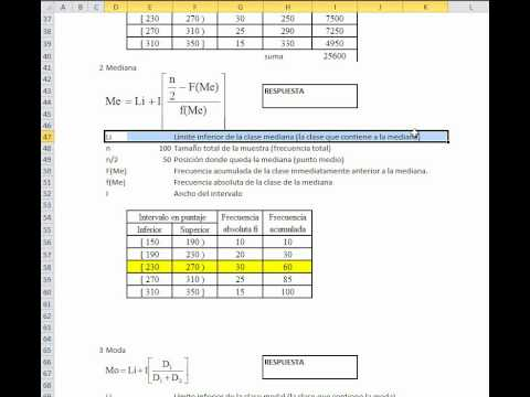 Calcular con EXCEL medidas de tendencia central y dispersion datos agrupados